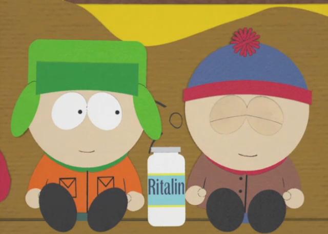 Stan und Kyle aus South Park mit einer Packung Ritalin