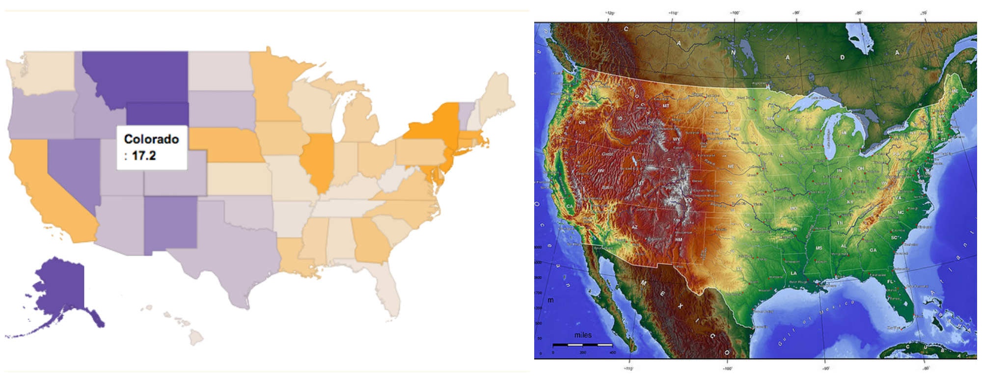 People In Colorado Are Now Shooting Themselves Faster Than They - Elevation map of usa